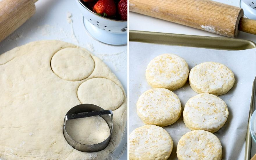 Biscuit dough rolled out and cutting for shortcakes