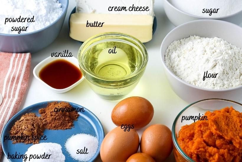 all ingredients for the cake labeled on the countertop