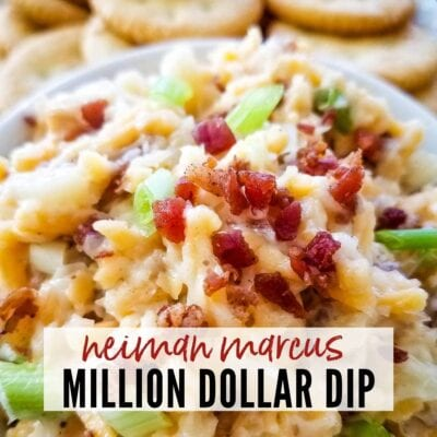 close up of neiman marcus dip with crackers in the background with text overlay