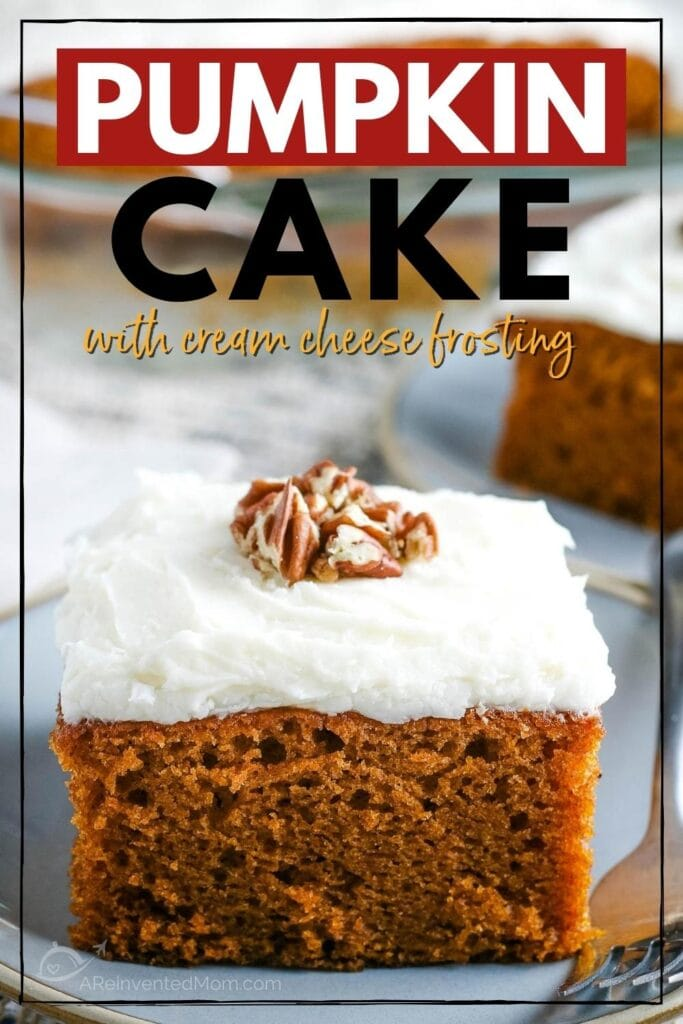 close up of a pumpkin cake square topped with cream cheese frosting with text overlay