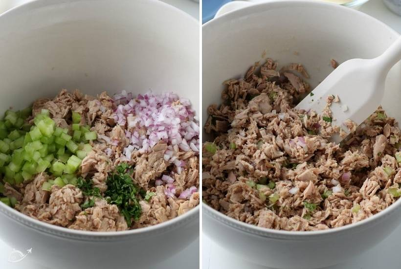 2 image collage, phonto on the left is the ingredients in a bowl for open faced tuna melts, on the right the ingredients are mixed