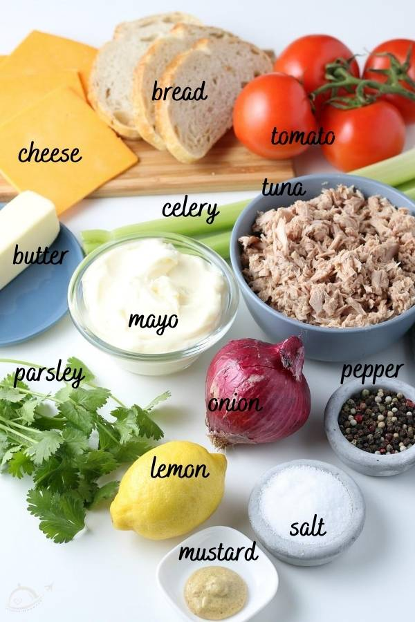 all ingredients labeled on a white countertop for tuna melts