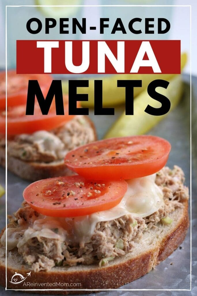 open faced tuna melt with another one and a pickle in the background with text overlay