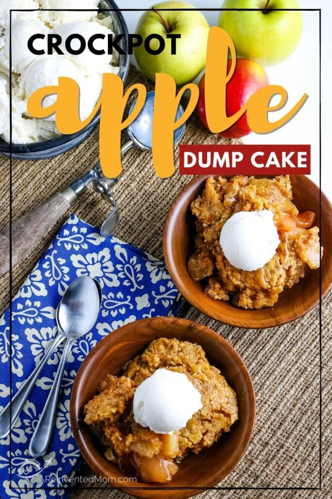 top view of crockpot apple dump cake topped with a scoop of ice cream