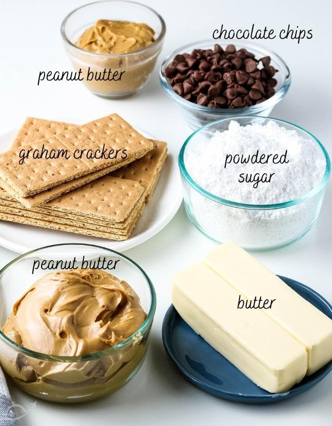 labeled ingredients for chocolate peanut butter squares on a white counter