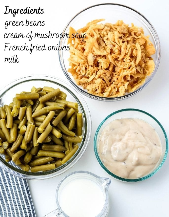 ingredients for green bean casserole labeled
