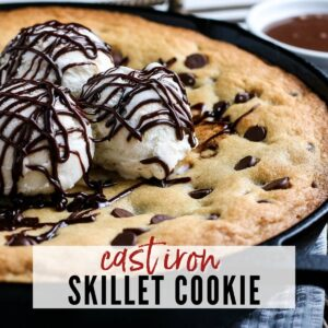 closeup of cookie skillet with text overlay