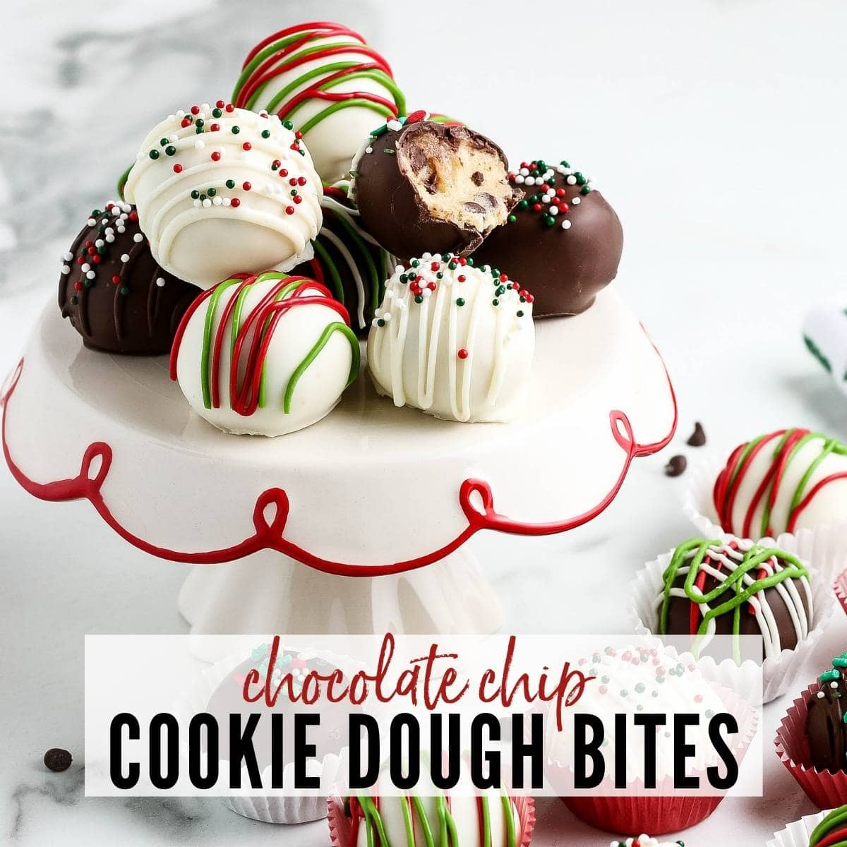 chocolate covered cookie dough bites decorated for the holidays with text overlay