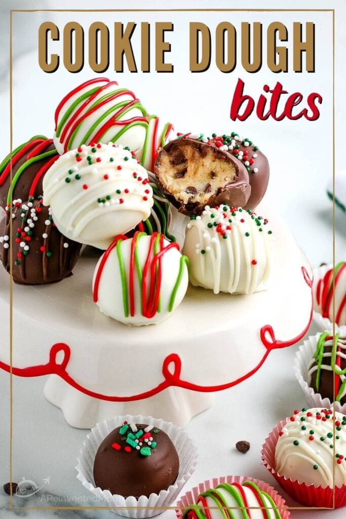 decorated cookie dough bites piled on a decorative stand with graphic overlay