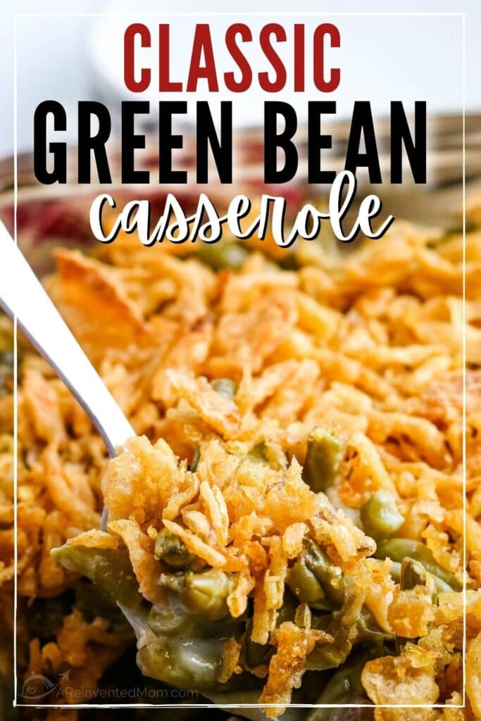green bean casserole on a spoon with text overlay