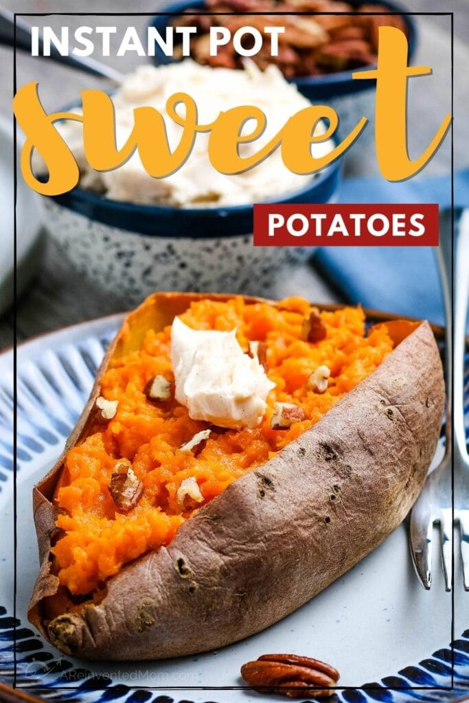 close up of a baked sweet potato made in the instant pot topped with butter with text overlay