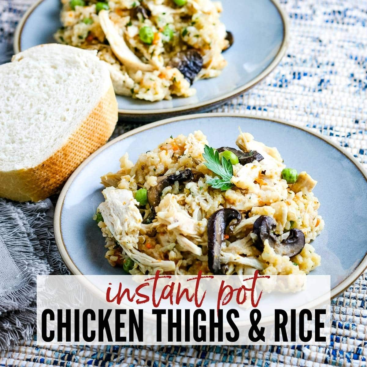 a plate of chicken and rice next to a slice of bread with text overlay
