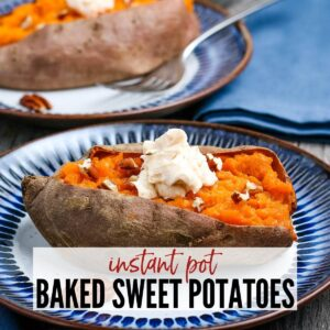 sweet potato sliced open after cooking in the instant pot topped with butter and pecans with text overlay