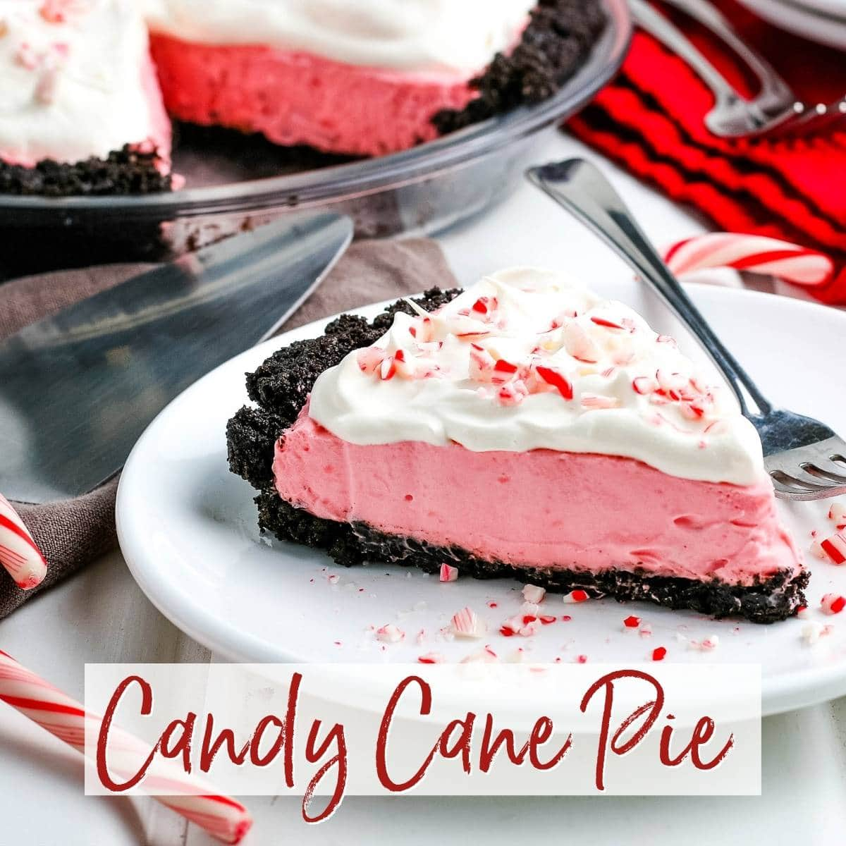 Slice of Candy Cane Pie with crushed candy canes on a whit plate with graphic overlay