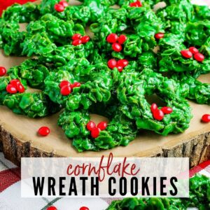 close up of christmas cookie wreaths made out of cornflakes with text overlay