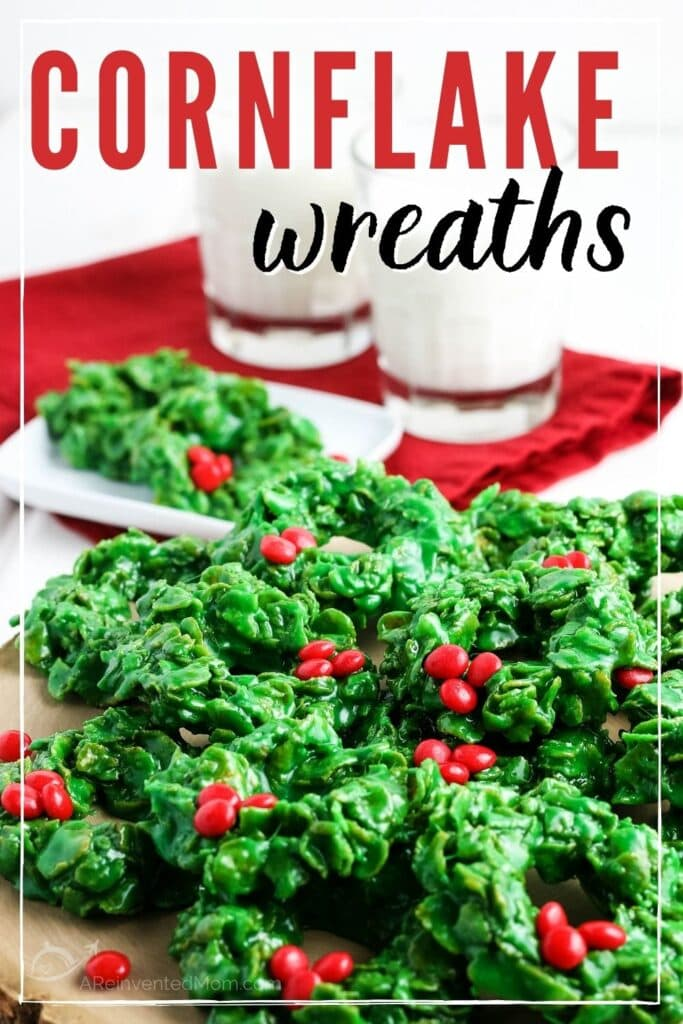 stack of cornflake christmas wreaths with glasses of milk in the background with text overlay