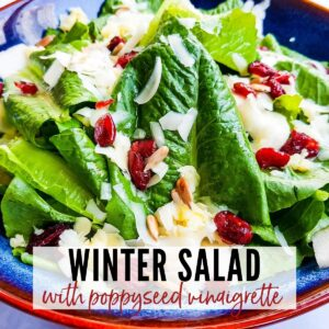 close of of a winter salad with pear topped with a lemon poppyseed dressing