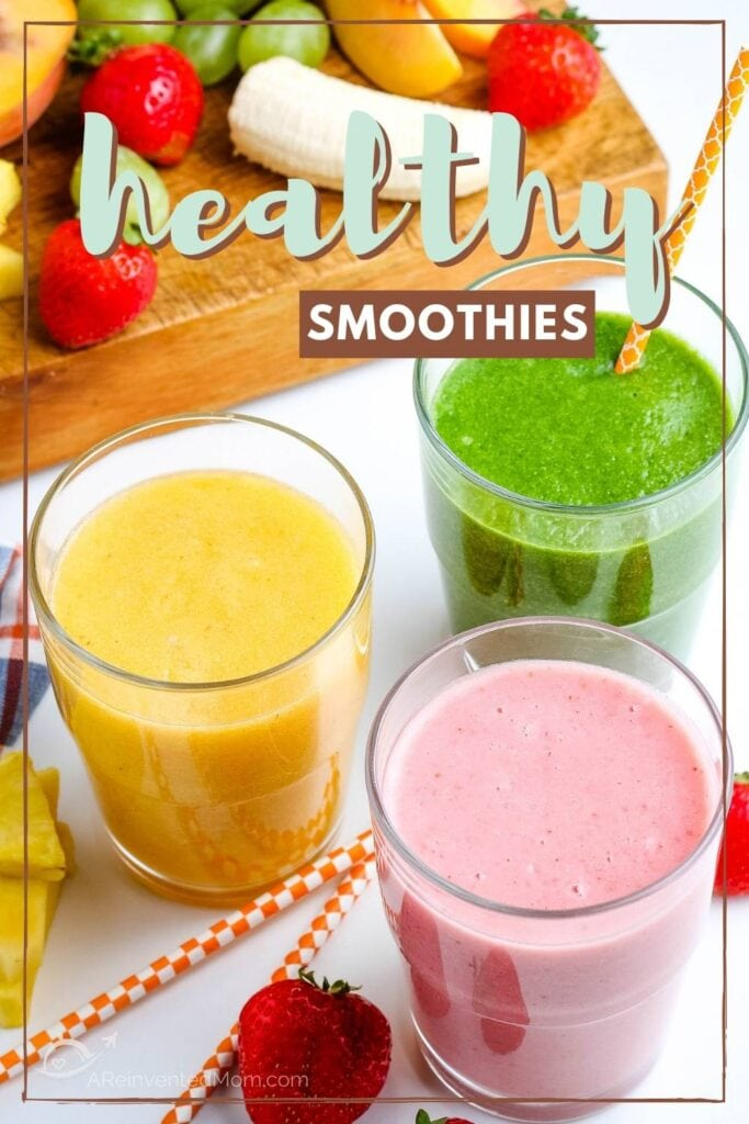 Three glasses of smoothies with fruit in the background and graphic overlay.