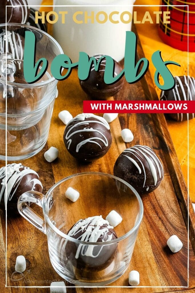 hot chocolate bomb in a glass with others in the background