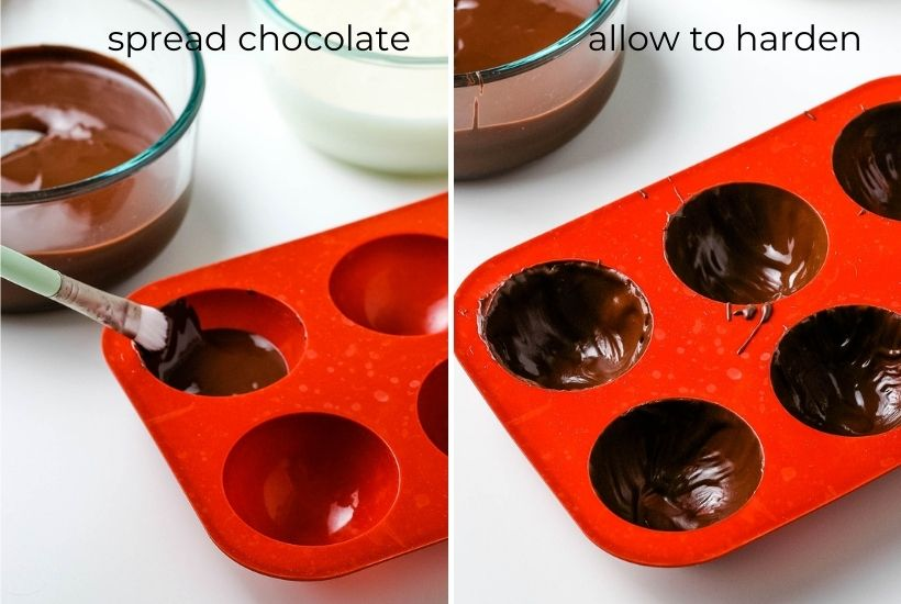 2 image collage showing how to spread out the chocolate in the mold and letting them harden