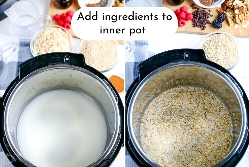 adding ingredients for oatmeal into the instant pot