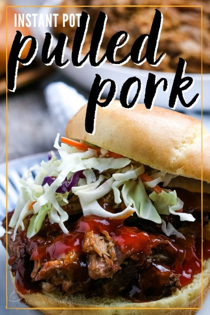 instant pot pulled pork sandwich topped with slaw and bbq sauce with text overlay
