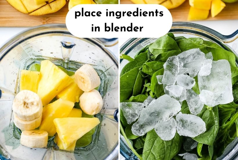 smoothie ingredients in the blender with ice on top