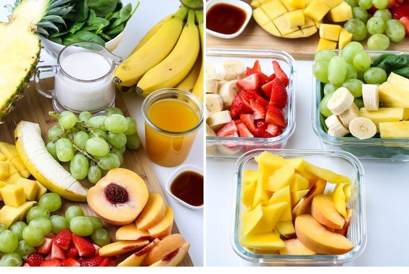 all of the ingredients for healthy homemade smoothies in glass bowls and on a cutting board