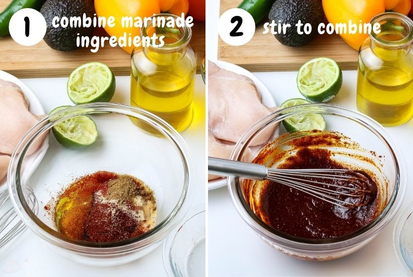 ingredients for chicken marinade in a glass bowl, then another image with a whisk after ingredients have been mixed together