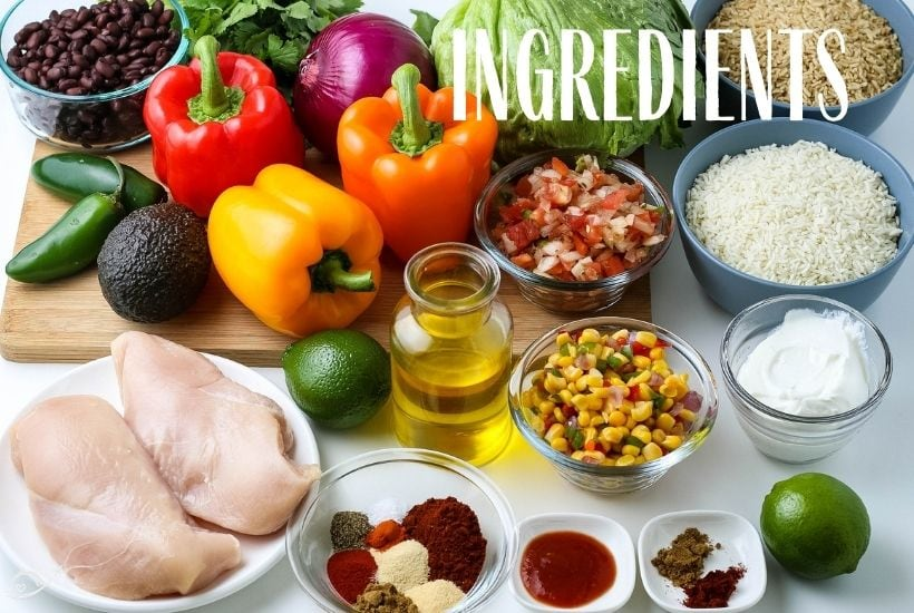 ingredients pictured for a copycat Chipotle Chicken bowl