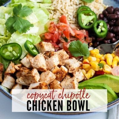 plated chicken chipotle chicken bowl- text overlay copycat chipotle chicken bowl