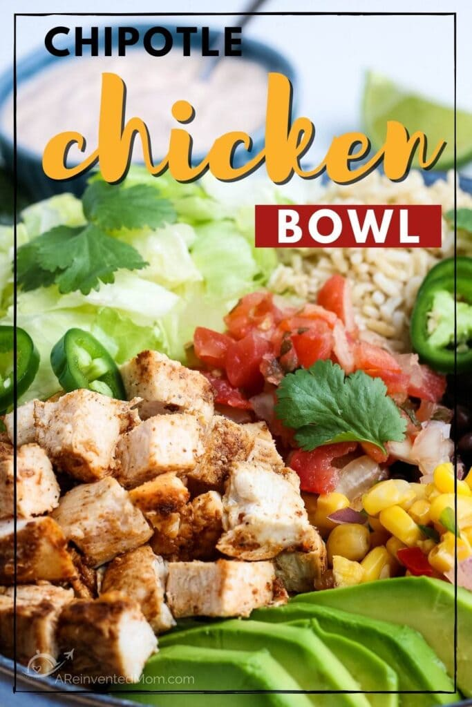 plated Chipotle Chicken bowl with southwest dressing with text overlay