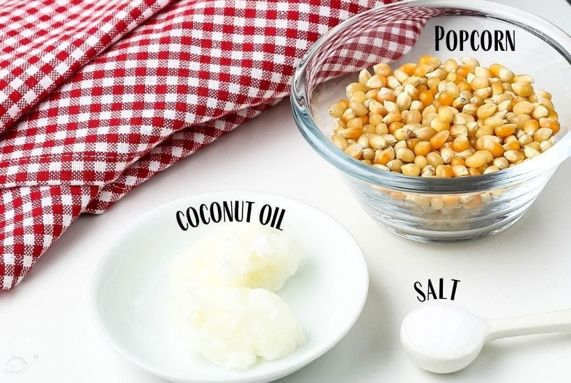 ingredients labeled for Instant Pot Popcorn