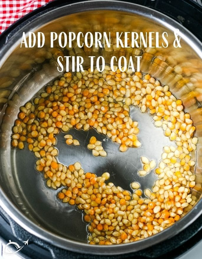 Popcorn kernels in instant pot with text overlay add popcorn kernels and stir to coat