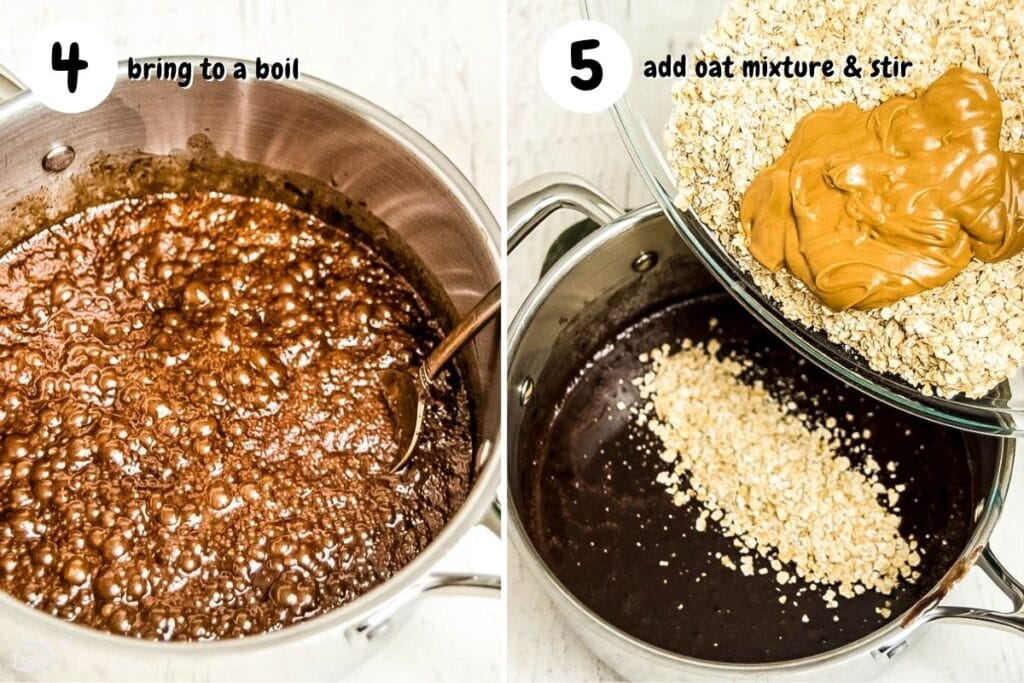 cookie mixture boiling on the left. adding the oats and peanut butter on the right.