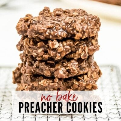 Stack of No Bake Preacher Cookies with text overlay