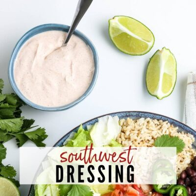 pictured southwest dressing with a spoon, two limes, bowl of chipotle chicken bowl