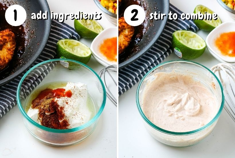 two bowls of southwest dressing text overlay add ingredients and stir to combine
