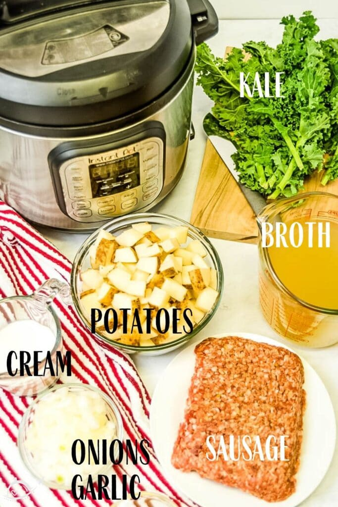 ingredients labeled for Instant Pot Zuppa Toscana soup