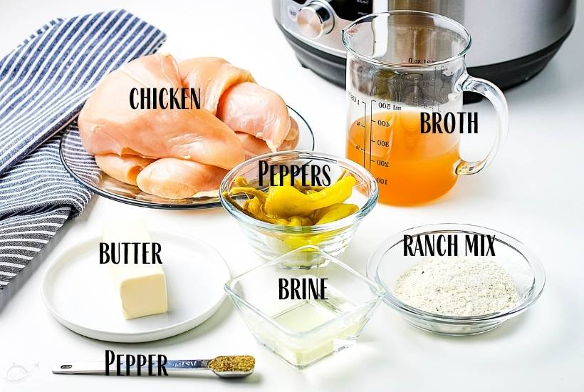 ingredients labeled for instant pot mississippi chicken on white countertop