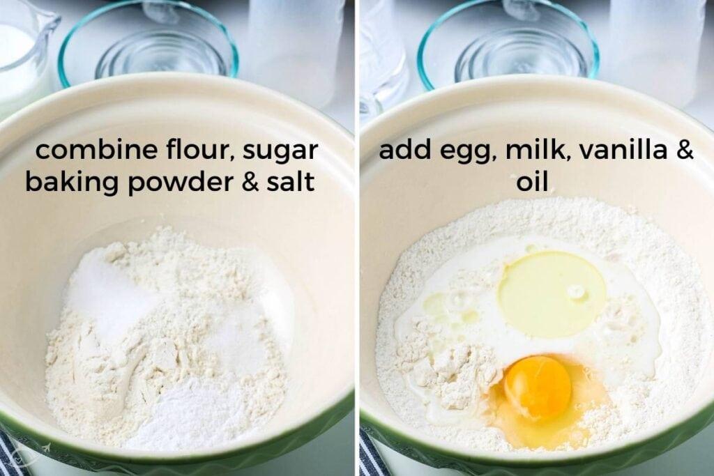 mixing bowls filled with pancake ingredients