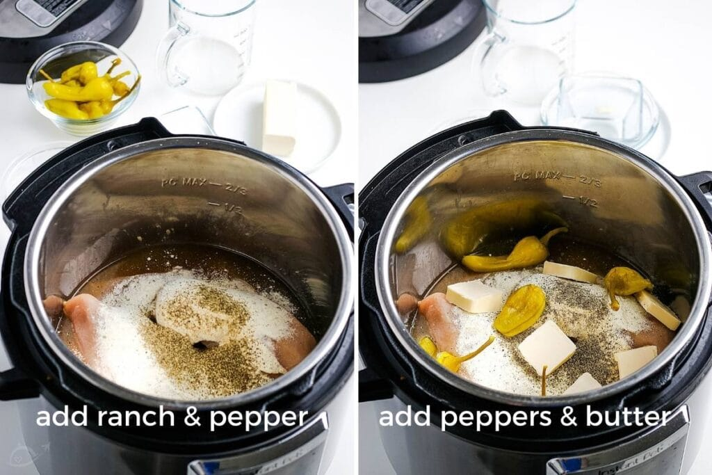 image on the left - ranch and pepper is being added to the chicken; image on right - peppers and butter on top of chicken breasts in the instant pot