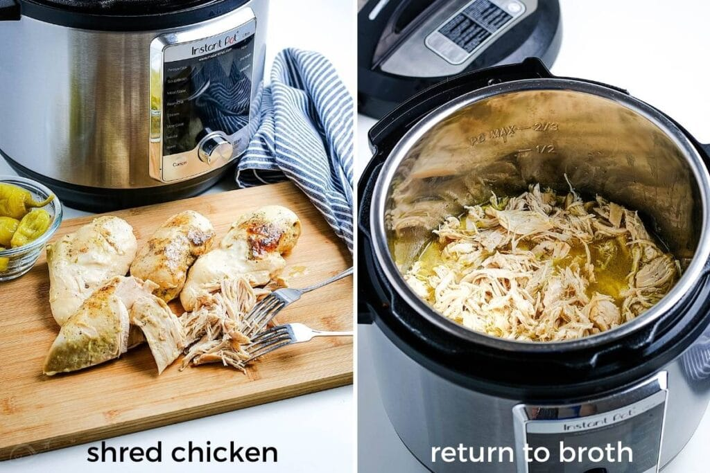 image on left - chicken being shredded on cutting board next to instant pot; image on right - adding the chicken back to broth in IP