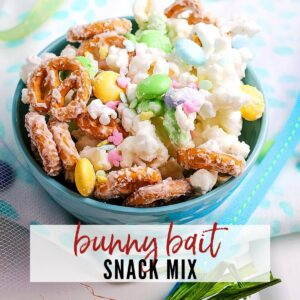 closeup view of blue bowl filled with Bunny Bait snack mix