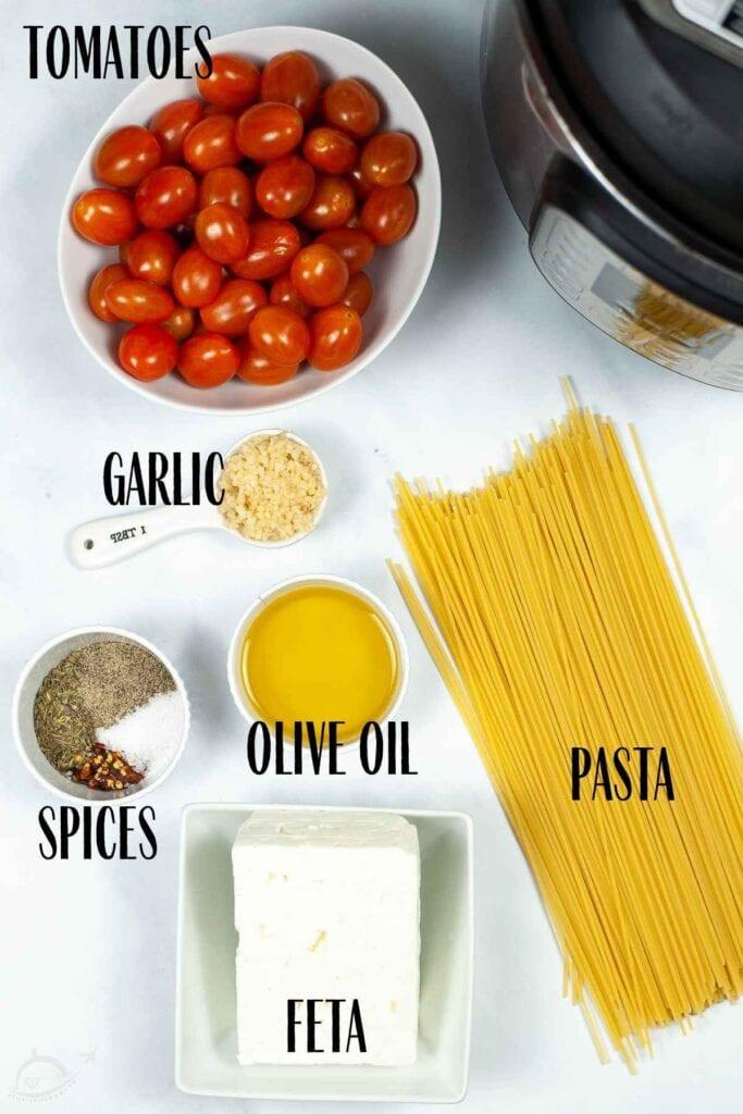 ingredients for tiktok feta tomato pasta recipe