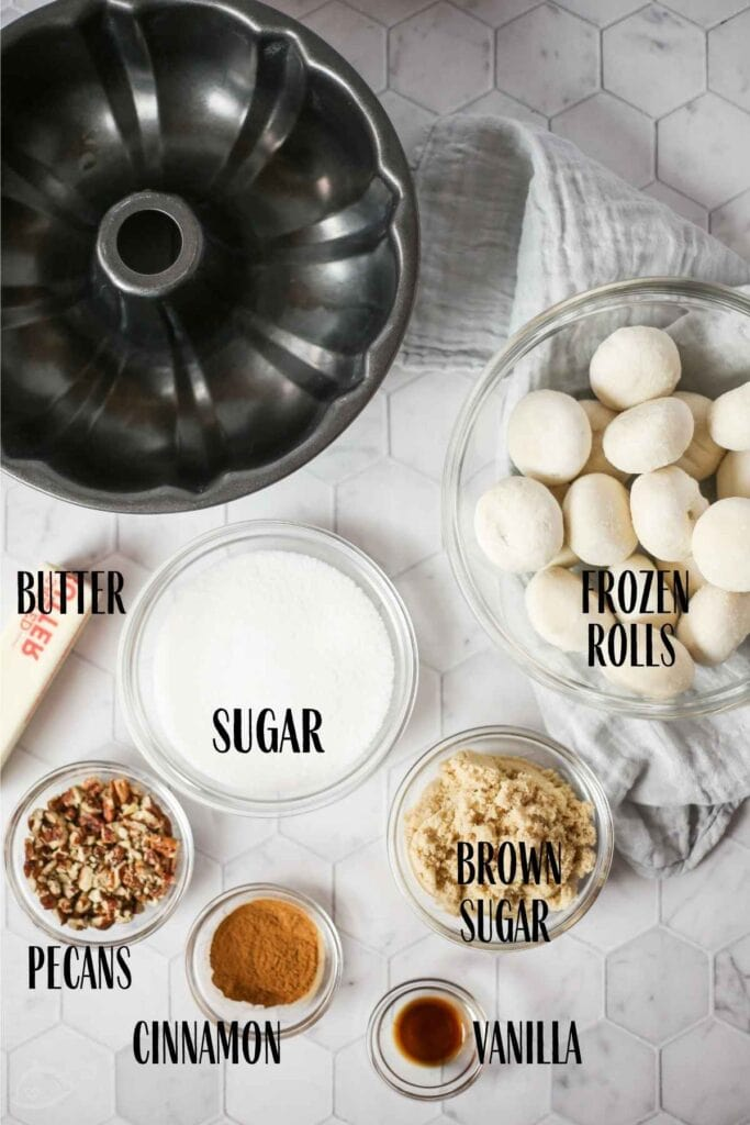 ingredients labeled to make pecan monkey bread