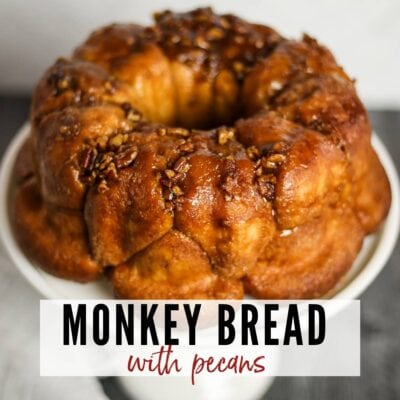 monkey bread topped with pecans with text overlay
