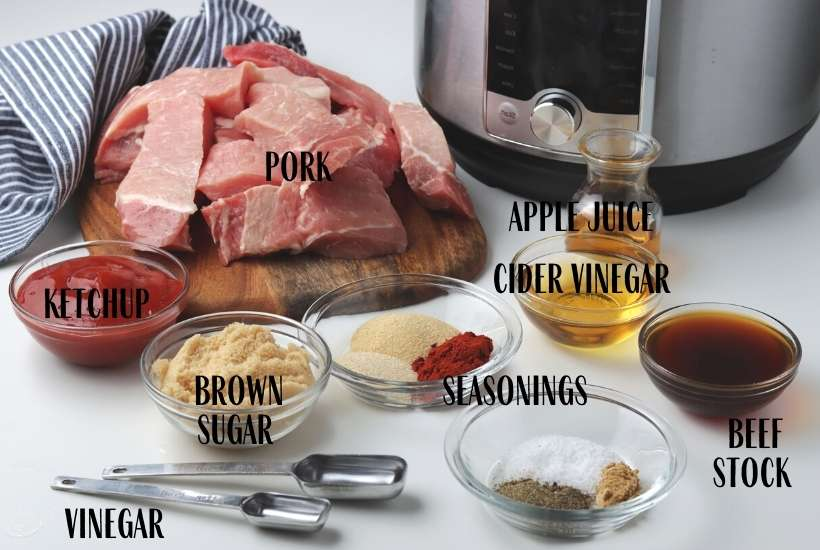 ingredients labeled to make country style ribs in the instant pot