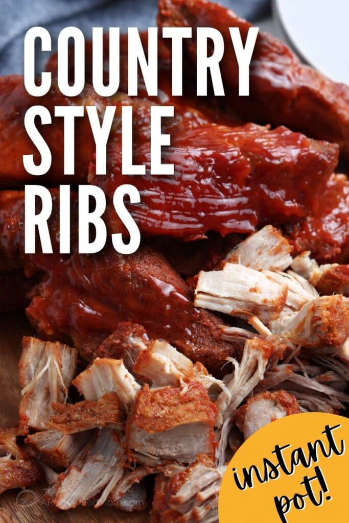 close up of bbq country ribs made in the instant pot with a text overlay