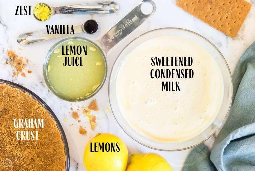 ingredients labeled for no bake lemon icebox cake
